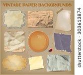 set of old crumpled vintage... | Shutterstock .eps vector #303613874