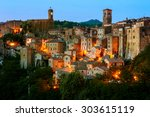 beautiful medieval town in... | Shutterstock . vector #303615119