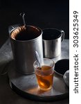 set of tea and coffee on a... | Shutterstock . vector #303625349