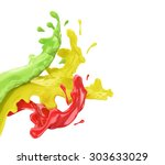 colored splashes of paint in... | Shutterstock . vector #303633029
