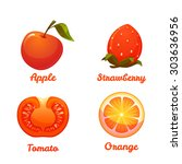 set of food apple strawberry ... | Shutterstock .eps vector #303636956