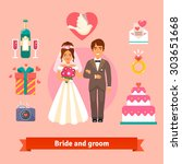bride and groom with wedding... | Shutterstock .eps vector #303651668