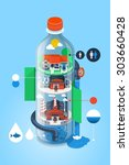 water bottle illustration with... | Shutterstock .eps vector #303660428