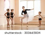 young girl warming up and... | Shutterstock . vector #303665834