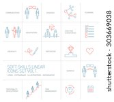 soft skills vector linear icons ... | Shutterstock .eps vector #303669038