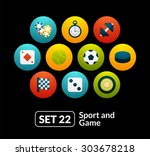 flat icons set 22   sport and...