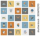 school and education icon set.... | Shutterstock .eps vector #303690293