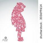 creative illustration of shy...   Shutterstock .eps vector #303699614