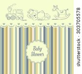 baby shower card with retro... | Shutterstock .eps vector #303705578
