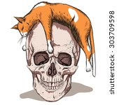 Simple Skull With Orange Cat...