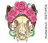 cat skull with pink roses and... | Shutterstock .eps vector #303714926