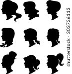 women profiles   silhouettes  ... | Shutterstock .eps vector #303726113