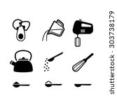 kitchen items icon set | Shutterstock .eps vector #303738179