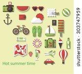 set of vector adventure... | Shutterstock .eps vector #303747959