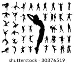 silhouette people jumping dance | Shutterstock .eps vector #30376519