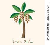 date palm tree. date fruit in... | Shutterstock .eps vector #303765734