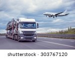 landing of the passenger plane... | Shutterstock . vector #303767120
