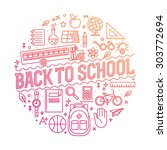 back to school background.... | Shutterstock .eps vector #303772694