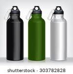 aluminum bottle water isolated... | Shutterstock .eps vector #303782828