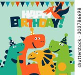 happy birthday   lovely vector... | Shutterstock .eps vector #303786698
