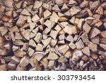 Pile Of Firewood  Vintage Effect