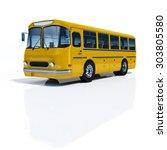 Bus Yellow On A White...