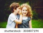 Little Boy Girl Whispers - Fine Art prints