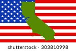 california map on a vintage... | Shutterstock .eps vector #303810998