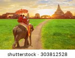 elephant and tourists on an... | Shutterstock . vector #303812528