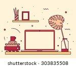 modern designer work space ... | Shutterstock .eps vector #303835508
