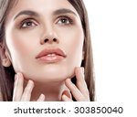 beautiful woman portrait face... | Shutterstock . vector #303850040