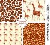set of four seamless patterns...   Shutterstock .eps vector #303863006