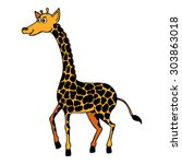 hand drawn giraffe  vector... | Shutterstock .eps vector #303863018