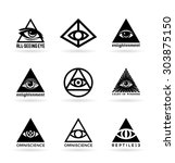 all seeing eye  5  | Shutterstock .eps vector #303875150