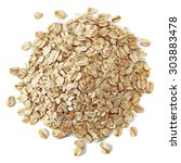 oat flakes pile from top... | Shutterstock . vector #303883478