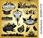 halloween design elements ... | Shutterstock .eps vector #303891719