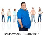 smiling fat woman with... | Shutterstock . vector #303894014