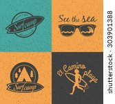 set of surf logo and emblem.... | Shutterstock .eps vector #303901388