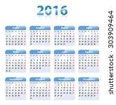 blue glossy calendar for 2016... | Shutterstock .eps vector #303909464