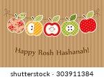 cute bright apples garland as... | Shutterstock . vector #303911384