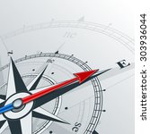 compass with wind rose  the... | Shutterstock .eps vector #303936044