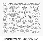 thin mono line floral... | Shutterstock .eps vector #303947864