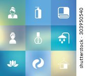 spa icon set with blurred... | Shutterstock .eps vector #303950540