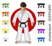karate martial art belt rank... | Shutterstock .eps vector #303951890