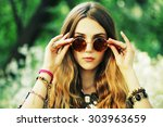 fashion portrait of young... | Shutterstock . vector #303963659