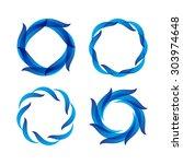 set of blue decorative frames... | Shutterstock .eps vector #303974648