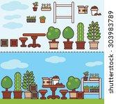 village garden with furniture...   Shutterstock .eps vector #303983789