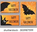 set of halloween cards with... | Shutterstock .eps vector #303987599