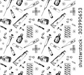 seamless pattern with different ... | Shutterstock .eps vector #303990653