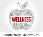 wellness apple word cloud... | Shutterstock .eps vector #303994874